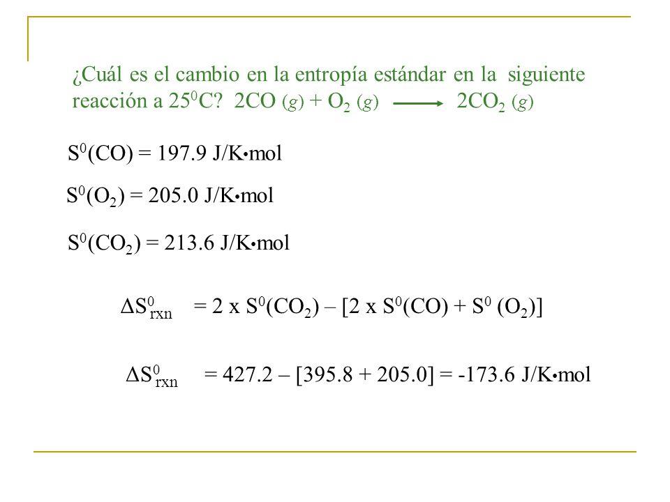 = 2 x S0(CO2) – [2 x S0(CO) + S0 (O2)]